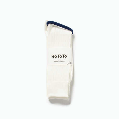 Linen Cotton Rib Socks, Off White