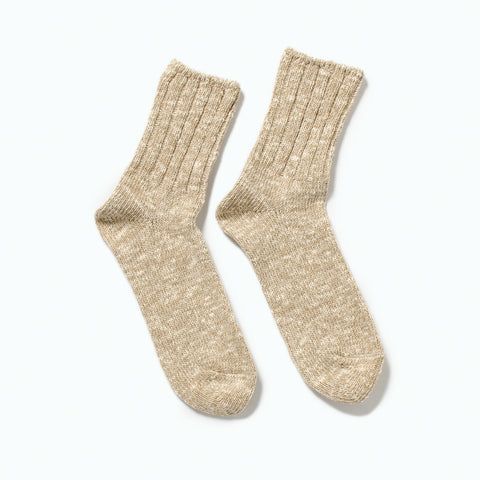 RoToTo Low Gauge Slub Socks, Beige at Westerlind