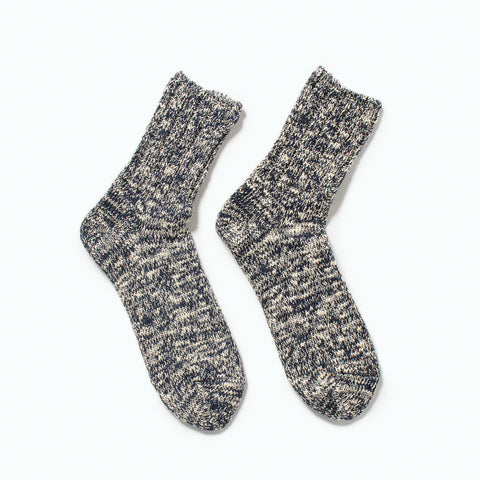 RoToTo Low Gauge Slub Socks, Navy at Westerlind