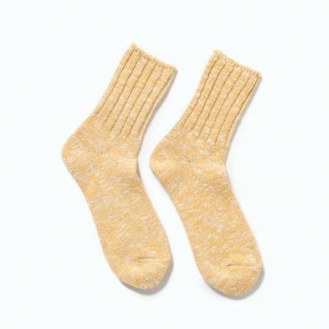 RoToTo Low Gauge Slub Socks, Yellow at Westerlind