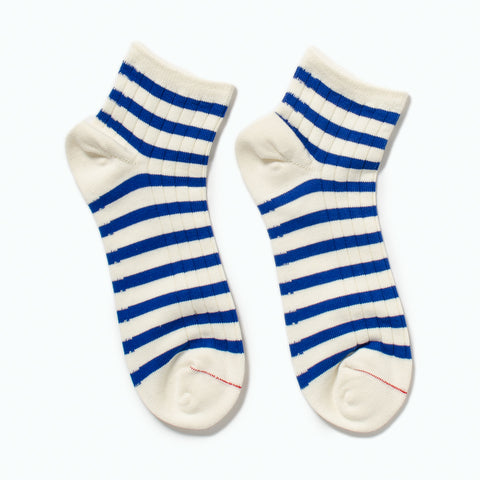 RoToTo Marine Striped Socks, White / Blue at Westerlind