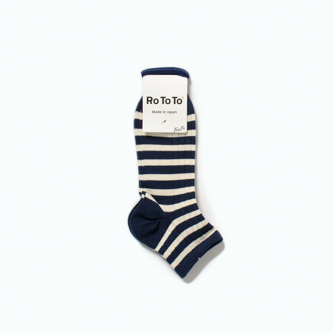 Marine Striped Socks, White / Navy