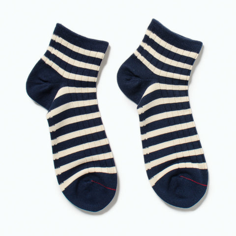 RoToTo Marine Striped Socks, White / Navy at Westerlind