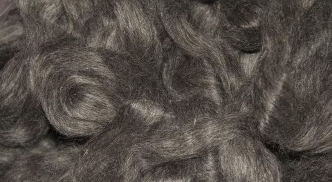 Natural Dark Gray Mohair Roving