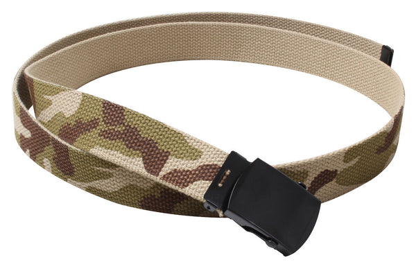 "web belt military style tri color desert camo reversible 54"" long rothco 4382"