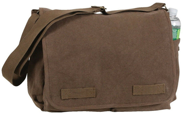 vintage style messenger bag canvas brown shoulder strap rothco 9694