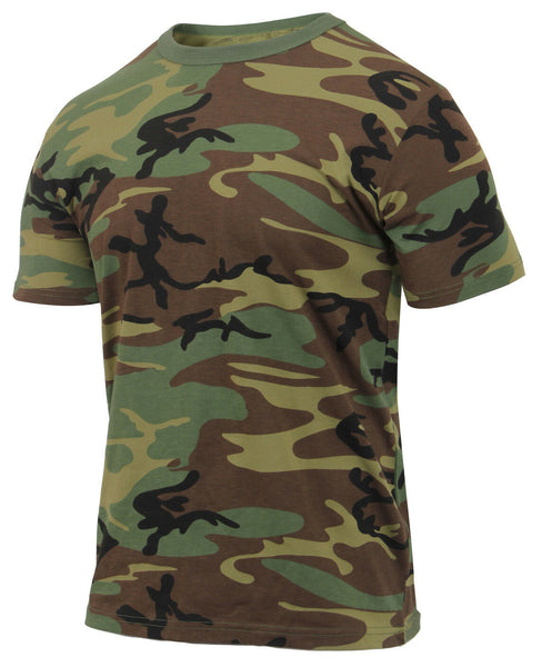 Camo T-shirt Woodland Camouflage Athletic Fit Cotton Polyester Rothco 2894