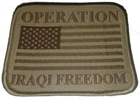 Military Patch OIF Iraq Operation Iraqi Freedom US USA Flag Subdued Tan Genuine