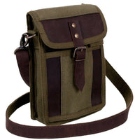 travel portfolio bag canvas shoulder strap leather accents rothco 2349