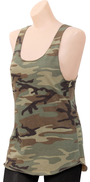 Womens Camo Racerback Tank Top Woodland Camouflage Shirt Rothco 44670