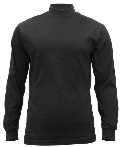 Black Mock Turtleneck Cotton Long Sleeve Cold Weather Under Shirt Rothco 3406
