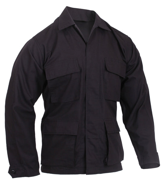 BDU Shirt Black Cotton Rip Stop Four Pockets 4 Pocket Military Style rothco 5920