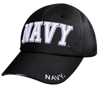 Mens USN US Navy Baseball Cap Hat Black Mesh Back Rothco 3879