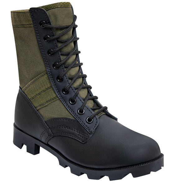 "Military Jungle Boots GI Type 8"" Black Boot Olive Drab Upper Rothco 5080"