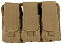 Coyote Brown Military Rifle NATO Ammo Modular MOLLE Triple Magazine Pouch