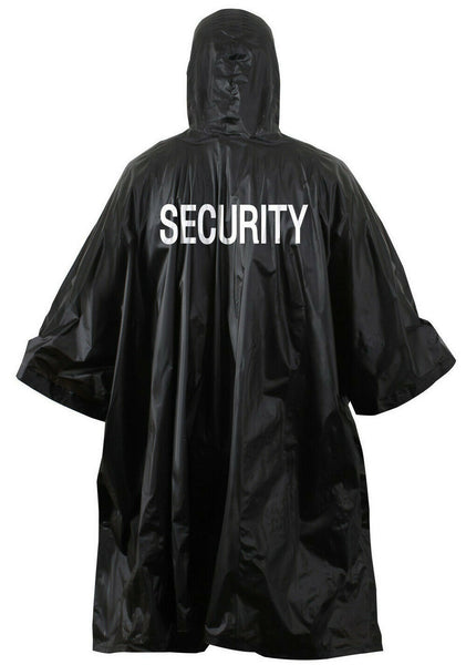 Security Rain Poncho Hooded Black PVC Wet Weather Uniform Rothco 3687