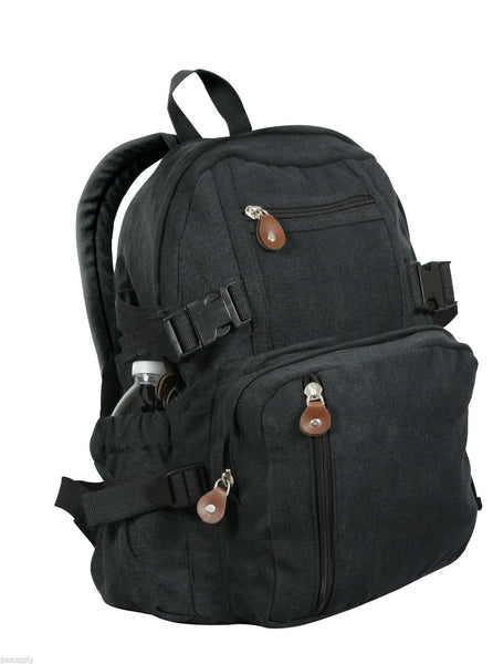backpack black canvas mini size vintage look adjustable straps rothco 9153