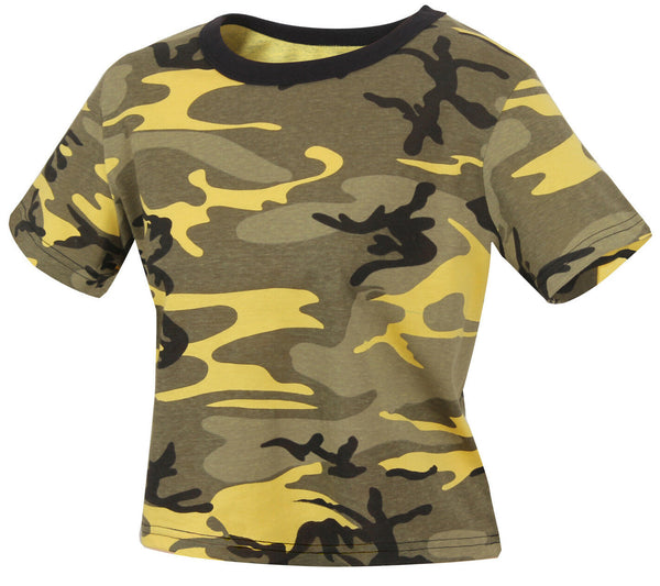 Womens Yellow Camo Crop Top Shirt T-shirt Yellow Stinger Camouflage Rothco 1944