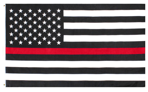 First Responder Flag USA US Thin Red Line 3 feet by 5 feet polyester rothco 1596