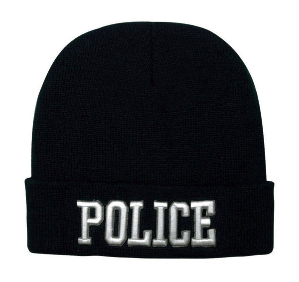 watch cap winter hat police embroidery black acrylic knit beanie rothco 5449