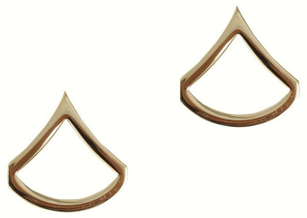 US Army Private 1st First Class E3 Insignia Gold One Pair Military Approved 1641