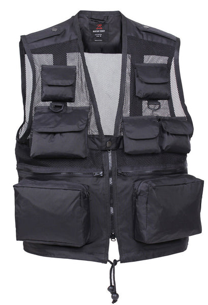 Travel Recon Vest Tactical Lightweight Black Water Resistant Nylon Rothco 6484