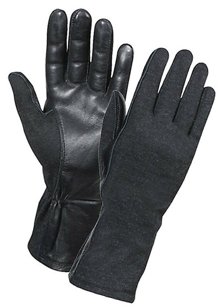 Black Tactical Flame Heat Resistant Military Style Flight Gloves Rothco 3457