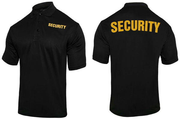 Tactical Black Security Polo Shirt Performance Moisture Wicking Rothco 2316