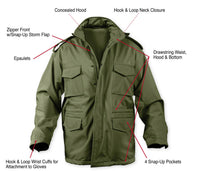 Military Style Soft Shell Tactical M-65 Field Jacket Olive Drab Coat Rothco 5744
