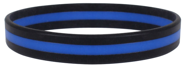 Police Thin Blue Line Bracelet Wrist Band Silicone Black Rothco 1180