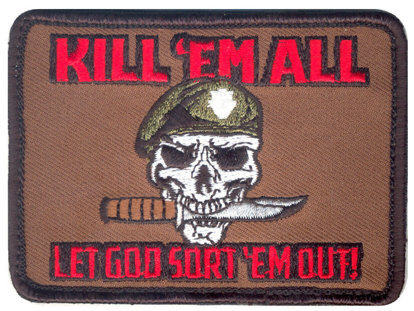 kill em all let god sort em out patch hook backing rothco 73197