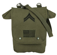 Olive Drab Military Heavyweight Canvas Map Case Shoulder Bag Patches Rothco 8796