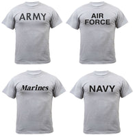 Military PT Style T-shirt Gray Grey Army Marines Air Force USAF Navy Rothco 6032