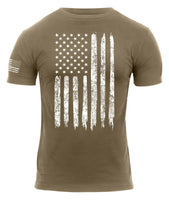 America Patriotic Athletic Fit Distressed USA US Flag T-shirt Coyote Rothco 2632