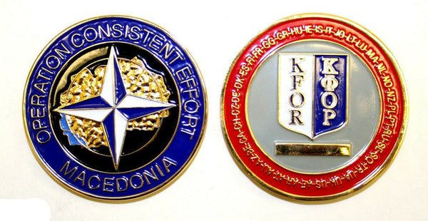 Military Challenge Coin KFOR Kosovo Force Macedonia NATO Consistent Effort
