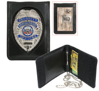 Neck Badge ID Card Holder Leather Bi Fold With Chain Rothco 1139