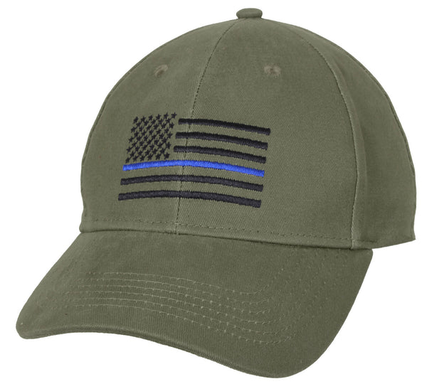 OD Police Hat Baseball Cap Ballcap US Flag Thin Blue Line Olive Drab Rothco 4425