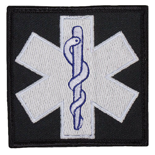 medic patch emt star of life glow white and blue hook backing fox 84P-036