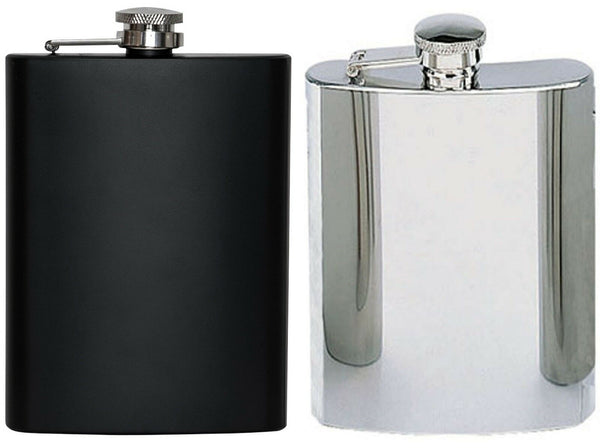 Hip Flask Stainless Steel Black and Silver 8 oz Capacity Rothco 1677