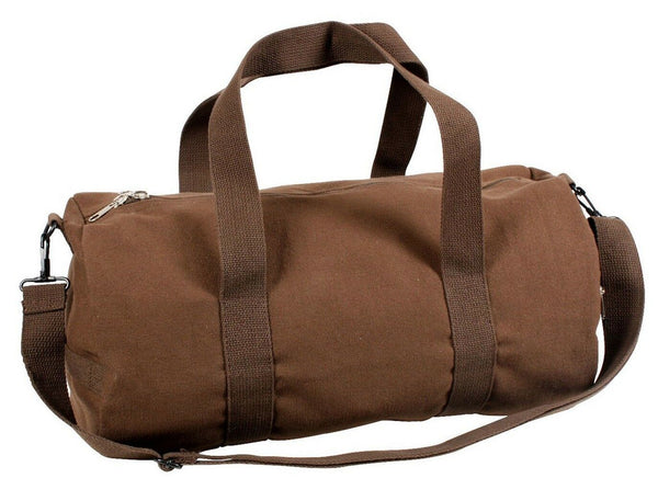 "Brown Canvas Sports Gym Duffle Carry Shoulder Bag & Strap - 19"" Rothco 2231"
