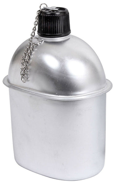 canteen aluminum 1 quart great for camping screw on top with chain rothco 414