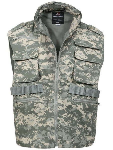 ranger hunting travel vest army acu digital camo rothco 7255