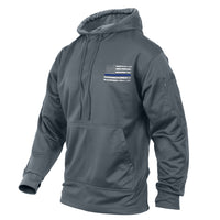 Hoodie Gray Thin Blue Line US Flag Support The Police Concealed Carry 52075