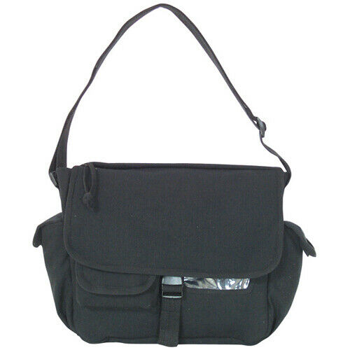 messenger bag canvas black adjustable shoulder strap fox outdoor 42-08
