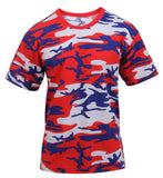 Mens USA Red White Blue Patriotic Camo T-shirt Camouflage Shirt Tee Rothco 3192