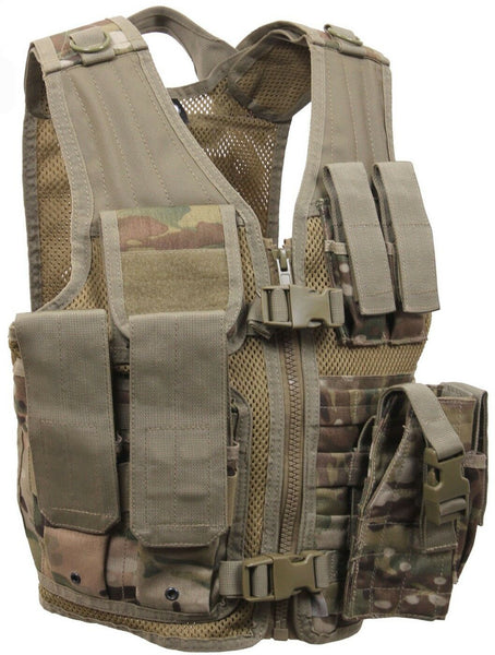 Kids Tactical Vest Multicam Camo OCP Cross Draw Airsoft Paintball Rothco 5384