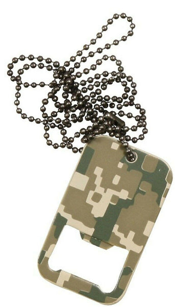 bottle opener acu digital army camo dog tag with chain rothco 8799