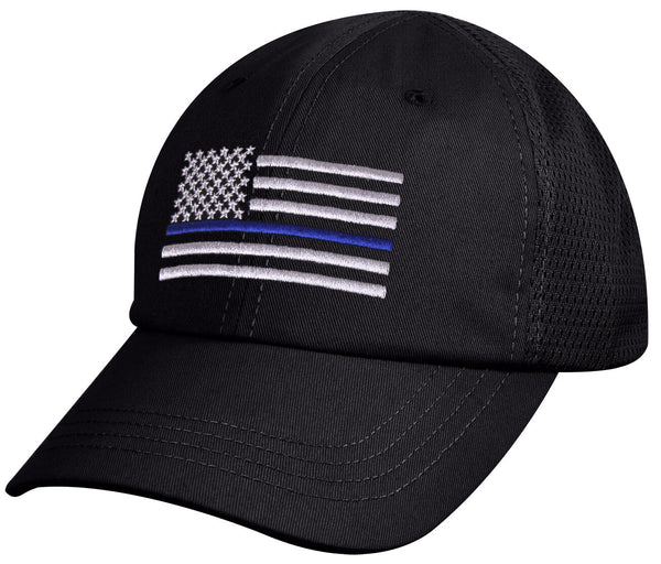 police mesh hat baseball cap ballcap us flag thin blue line black rothco 9973