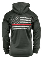 Hoodie Concealed Carry Grey with US Flag Thin Red Line Sweatshirt Rothco 2331