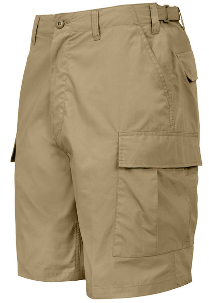 Khaki Tactical BDU Shorts Lightweight Cotton Fabric Adjustable Waist Rothco 3791